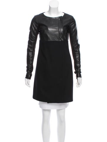 Veda Leather-Accented Wool Coat None