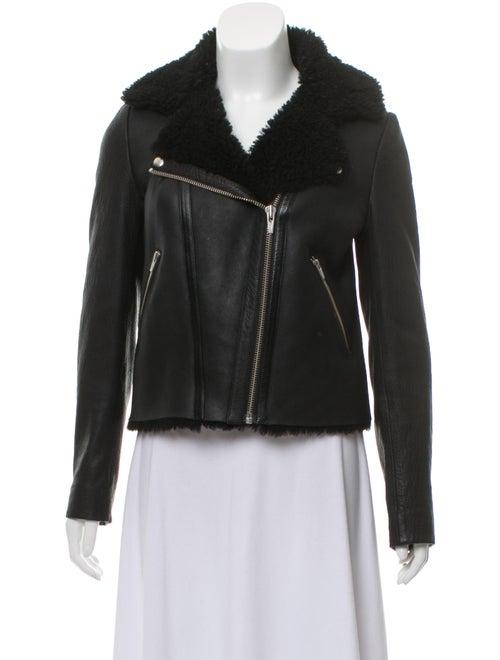 Veda Shearling Biker Jacket Black