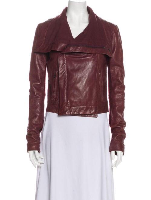Veda Leather Biker Jacket Red