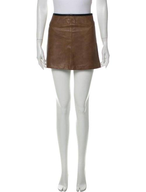 Veda Leather Mini Skirt Brown