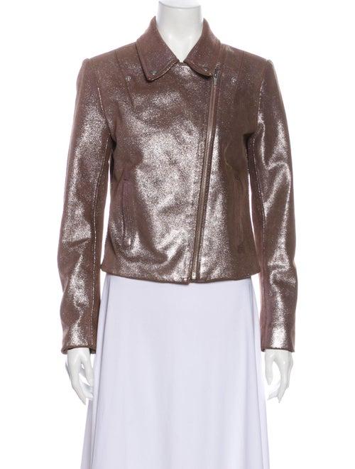 Veda Leather Biker Jacket Pink
