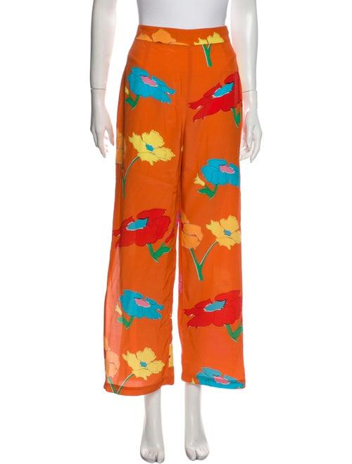 Veda Silk Wide Leg Pants Orange