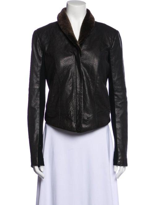 Veda Leather Biker Jacket Black - image 1