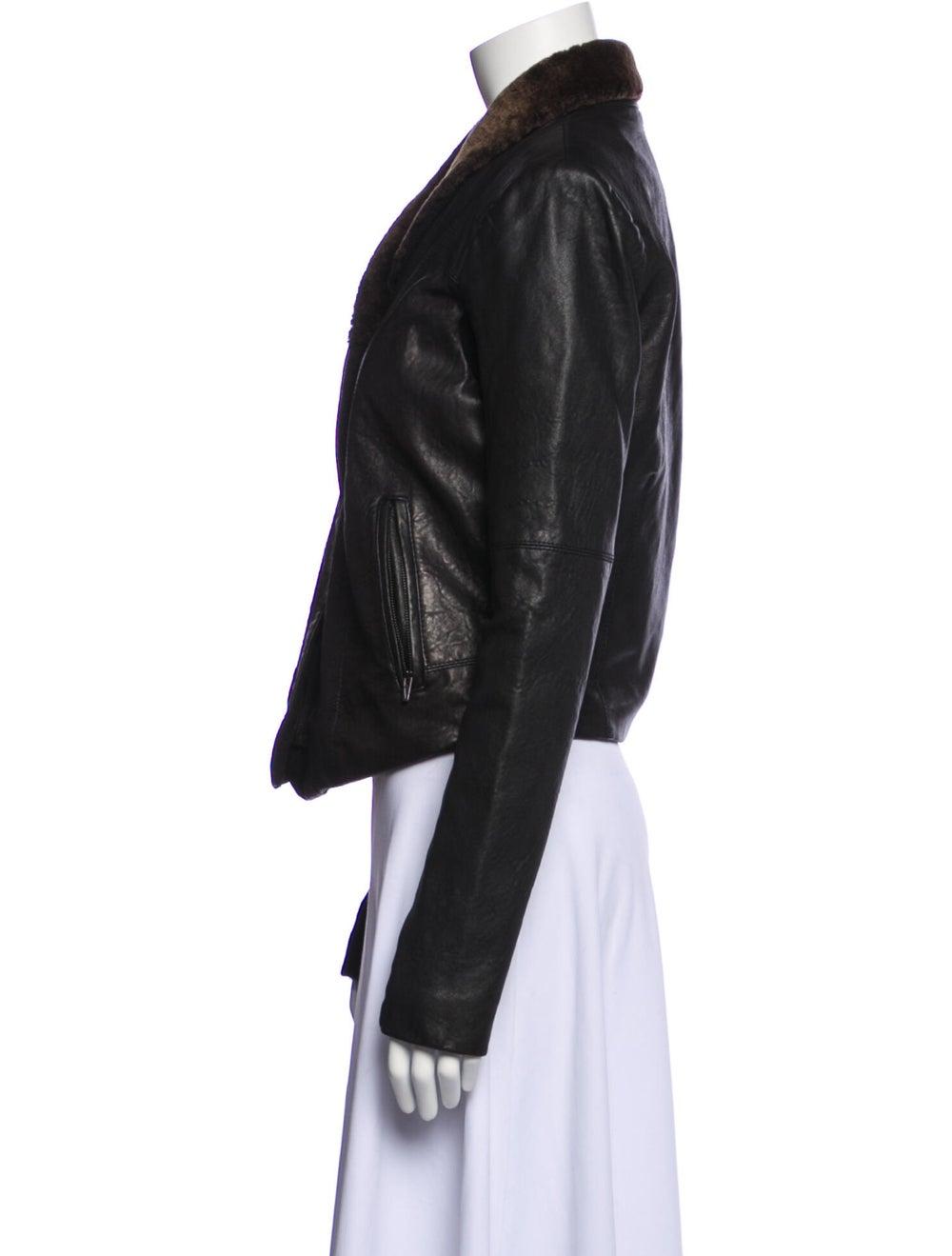 Veda Leather Biker Jacket Black - image 2