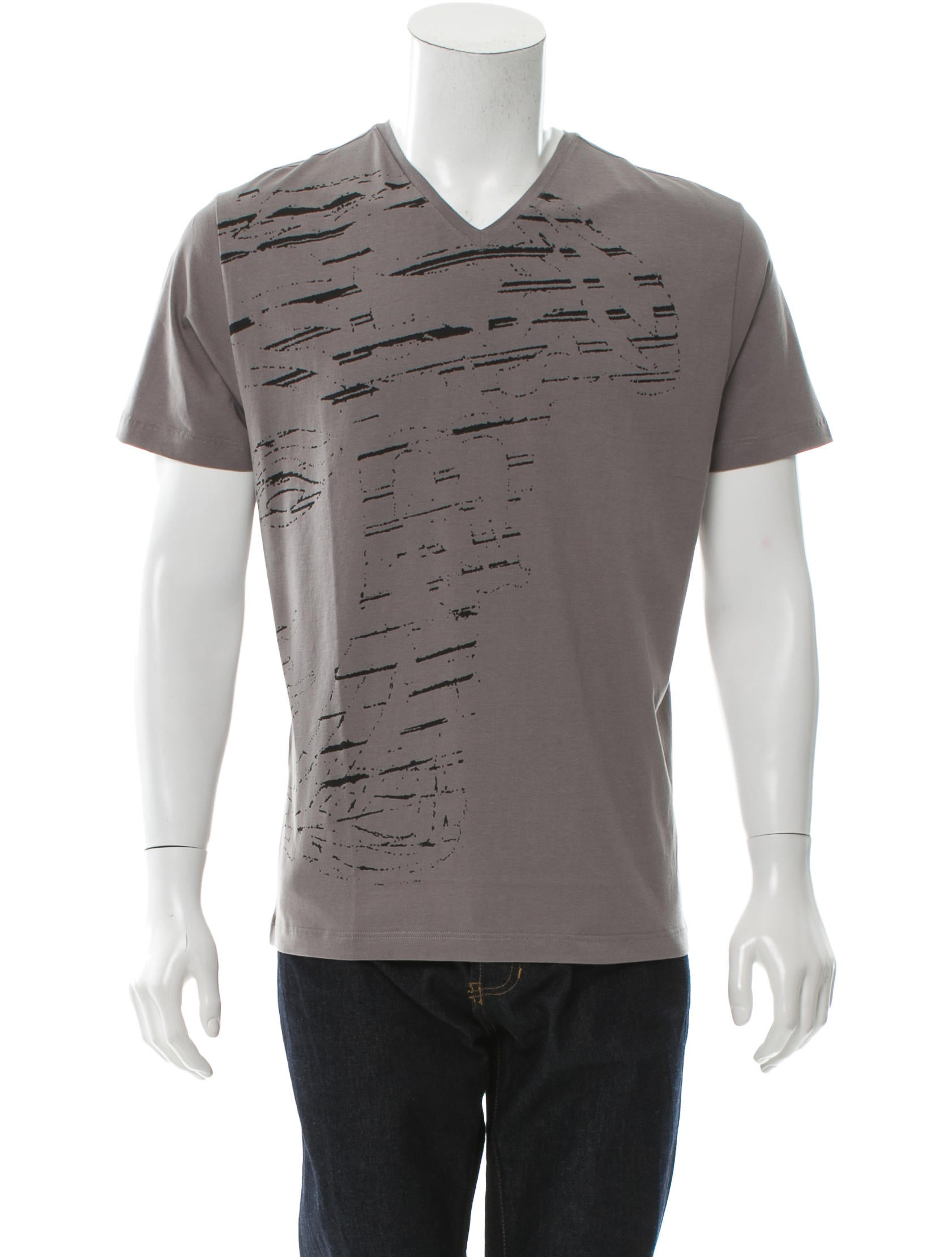Versace Collection V Neck Graphic Print T Shirt W Tags