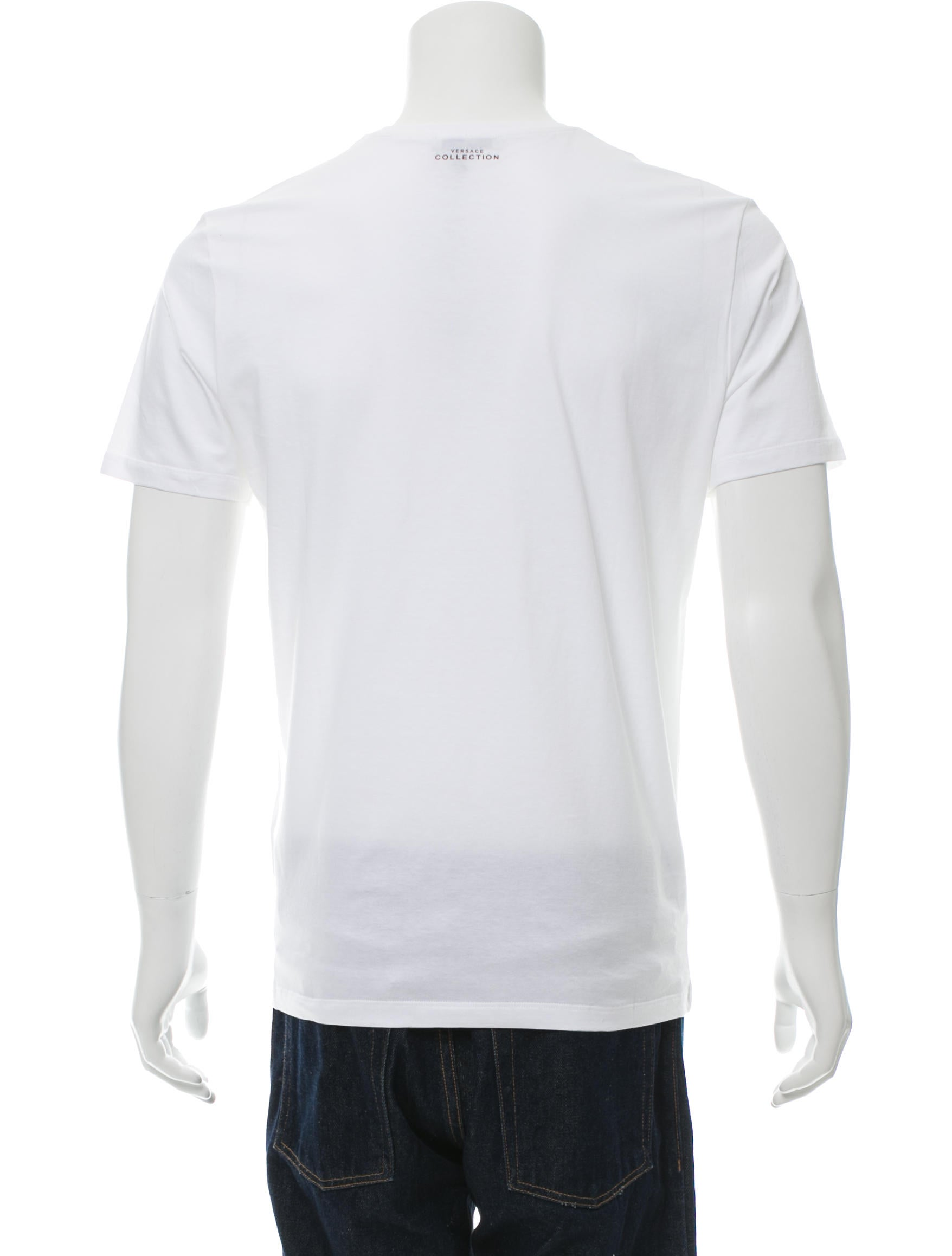 Versace collection splattered medusa t shirt w tags for Blue and white versace shirt