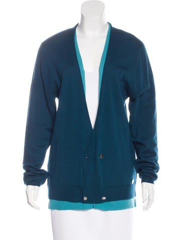 Versace Collection Wool Long Sleeve Cardigan None