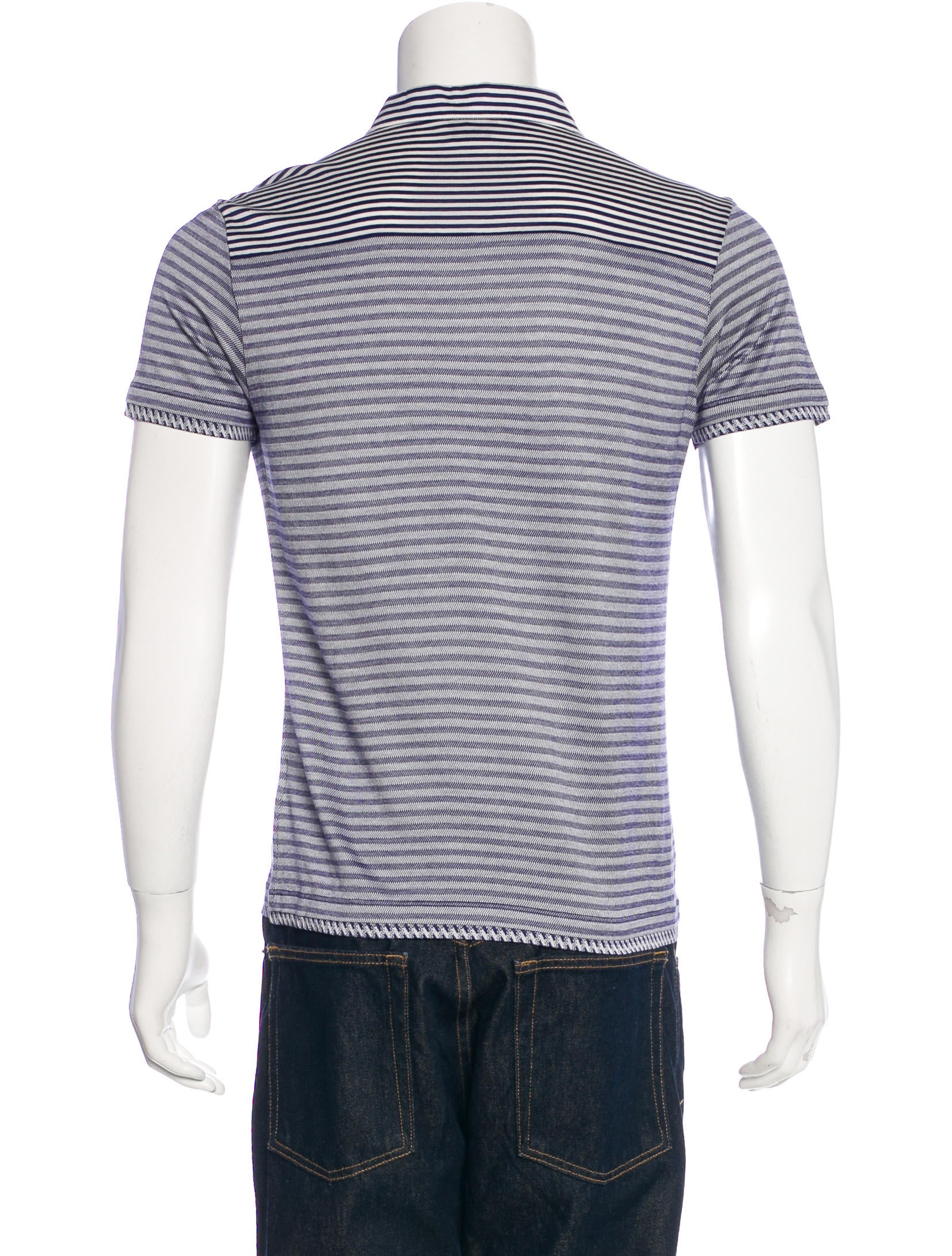 Versace collection striped polo shirt clothing for Blue and white versace shirt