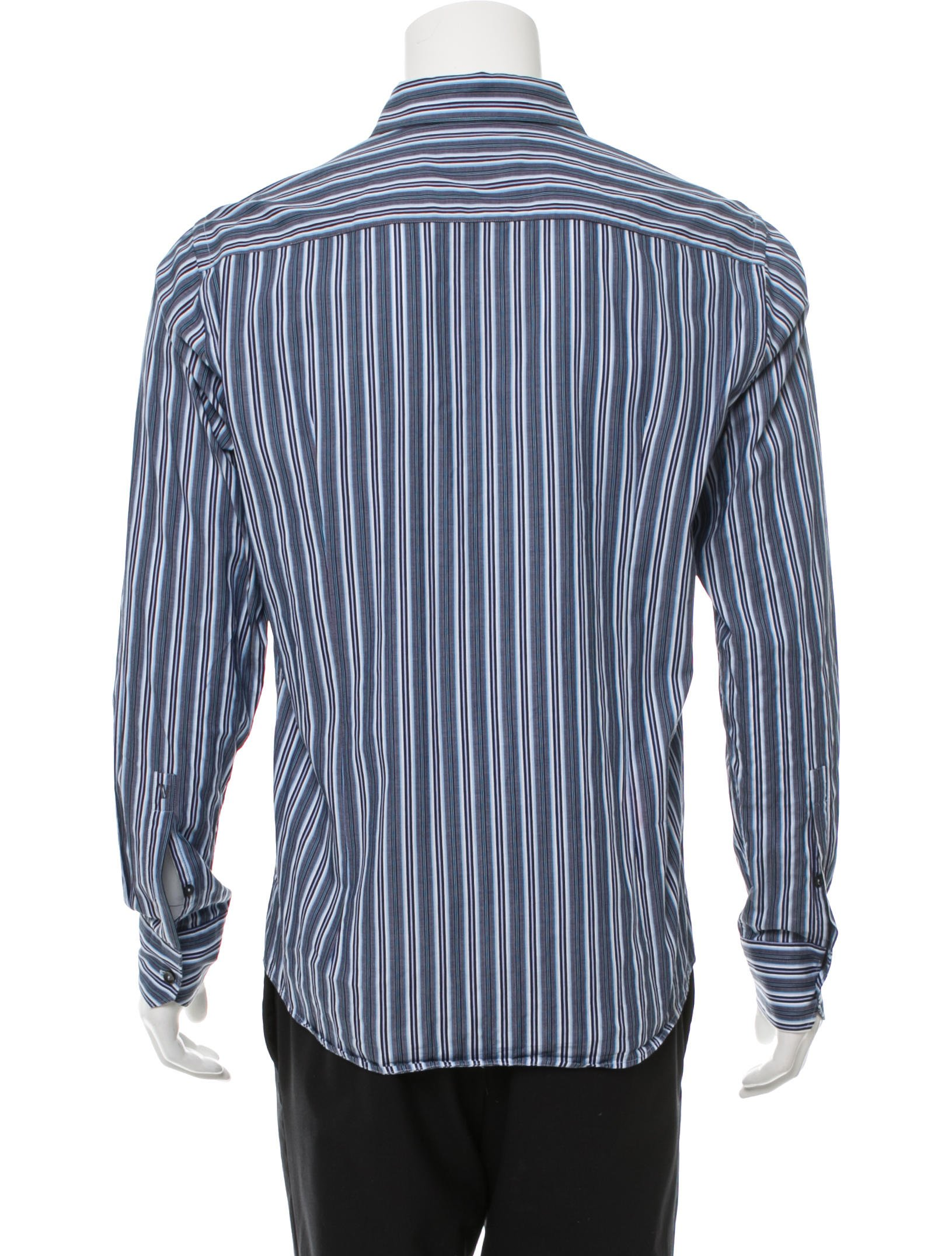 Versace collection striped button up shirt clothing for Striped button up shirt mens