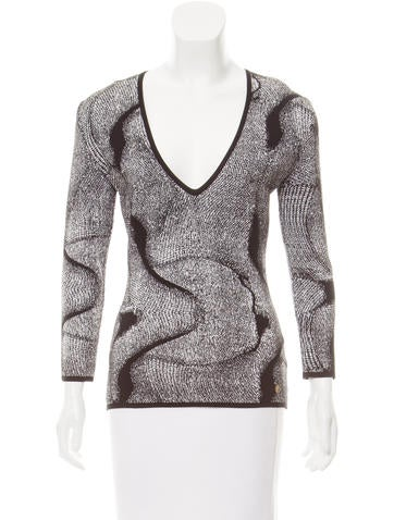 Versace Collection Jacquard Long Sleeve Top None