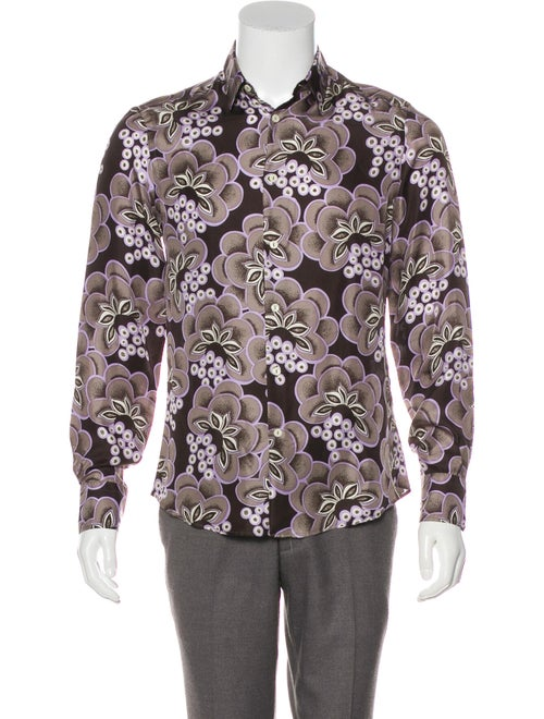 Versace Collection Floral Print Silk Shirt brown