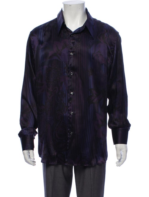 Versace Collection Printed Silk Shirt purple