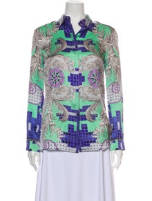 Versace Collection Silk Printed Button-Up Top