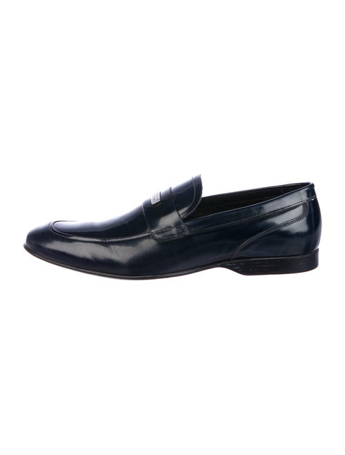Versace Collection Leather Dress Loafers Blue