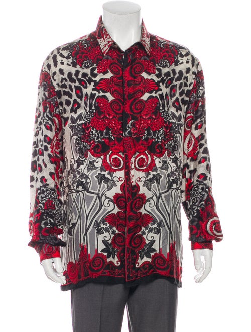 Versace Collection Trend Silk Dress Shirt Red
