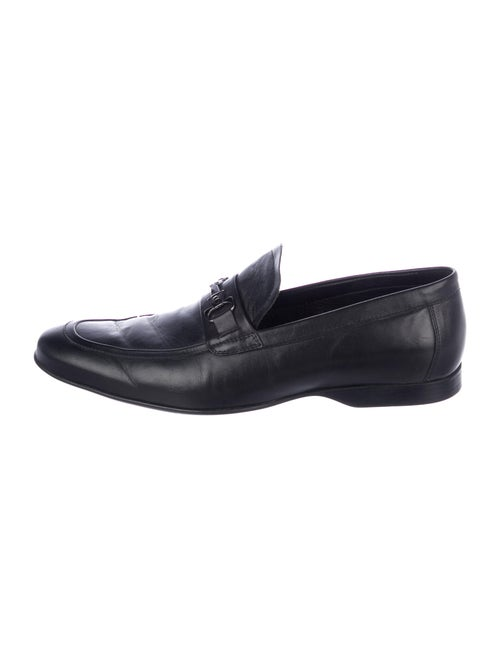 Versace Collection Leather Dress Loafers Black