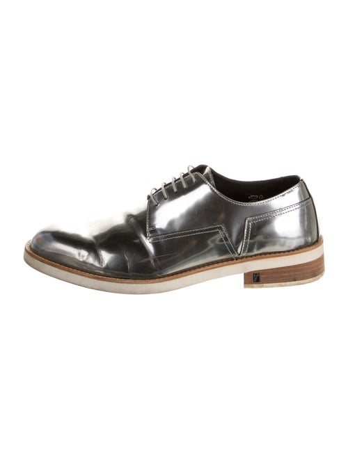 Versace Collection Patent Leather Derby Shoes Silv