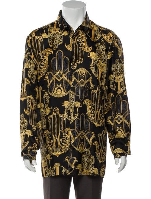 Versace Collection Silk Printed Shirt Black