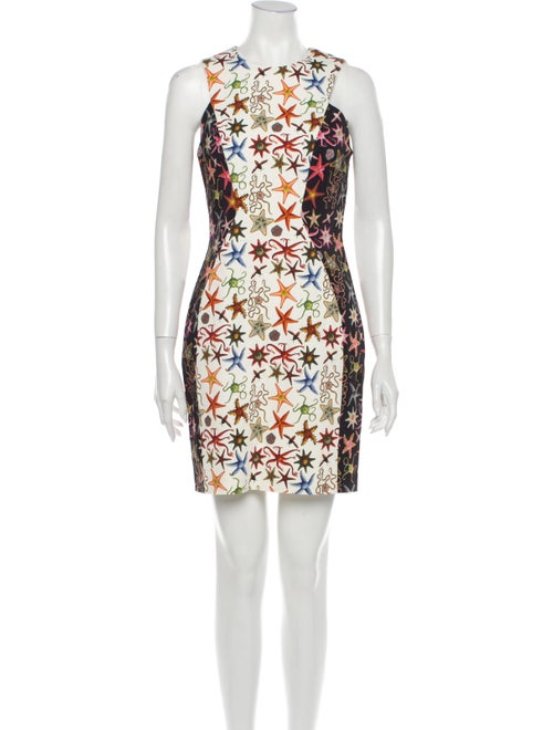 Versace Collection Printed Mini Dress White