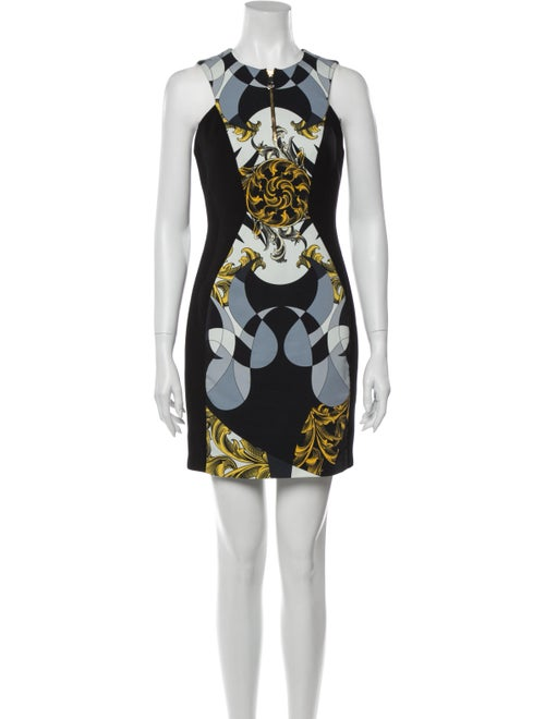 Versace Collection Printed Mini Dress Black