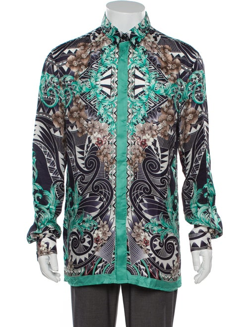 Versace Collection Silk Printed Shirt Green