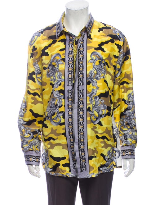 Versace Collection Silk Printed Shirt Yellow