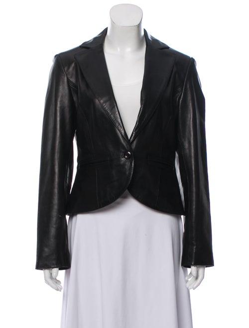 Vakko Lamb Leather Blazer Black