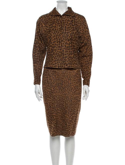 Vakko Animal Print Skirt Set Brown