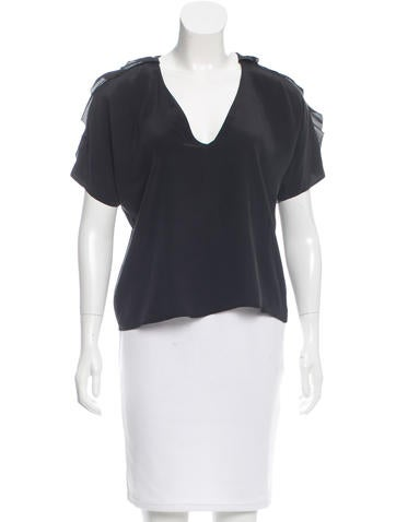 Vanessa Bruno Athé Ruffle-Trimmed Silk Top None