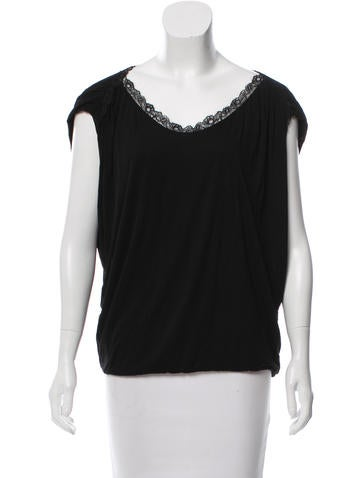 Vanessa Bruno Athé Lace-Accented Sleeveless Top None