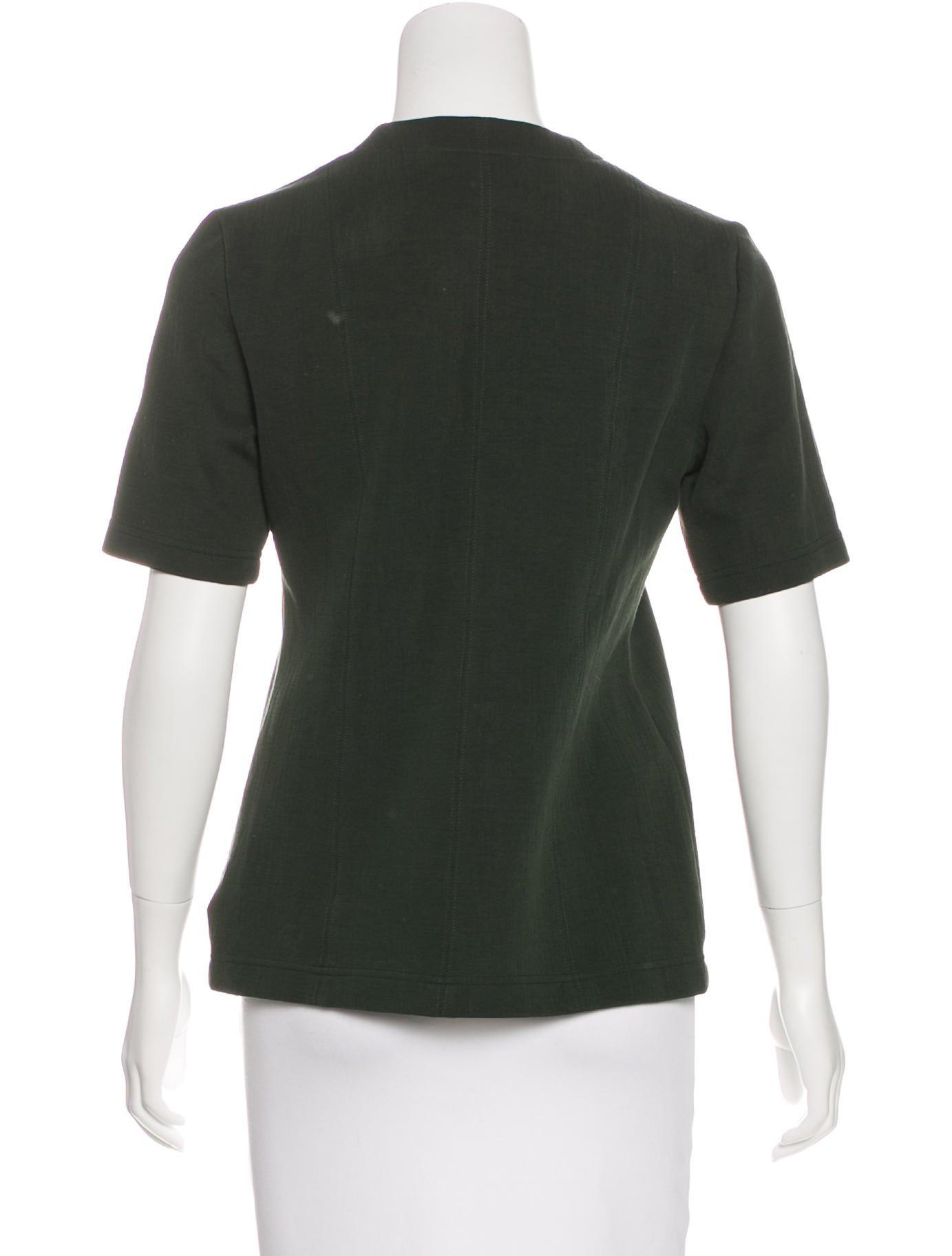 Victoria Beckham Jeans Short Sleeve V Neck Top Clothing