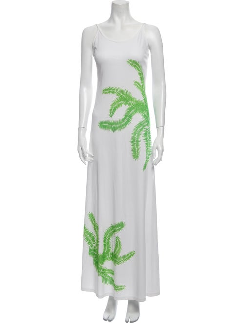 Victor Costa Printed Long Dress Green
