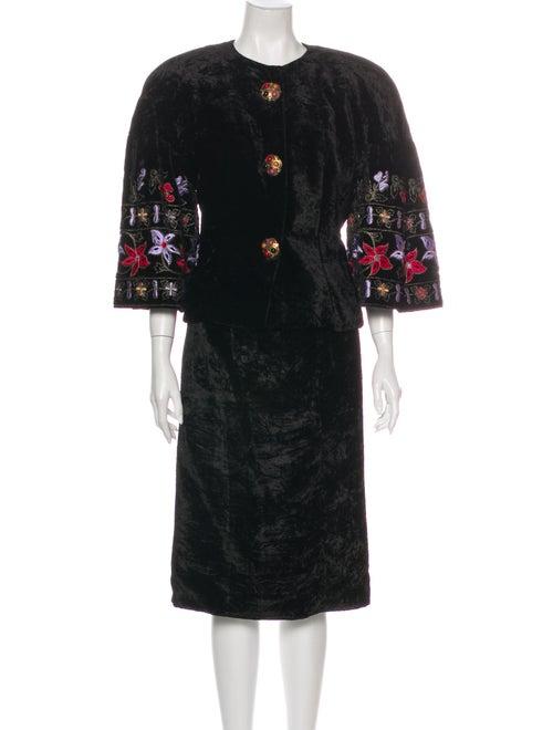 Victor Costa Printed Skirt Set Black