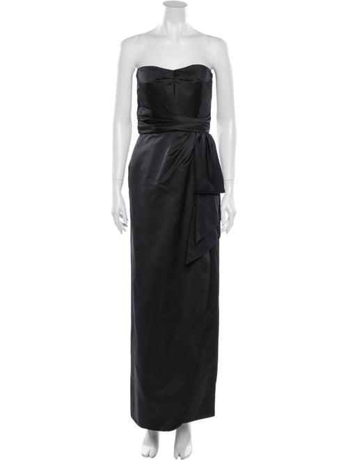 Victor Costa Strapless Long Dress Blue