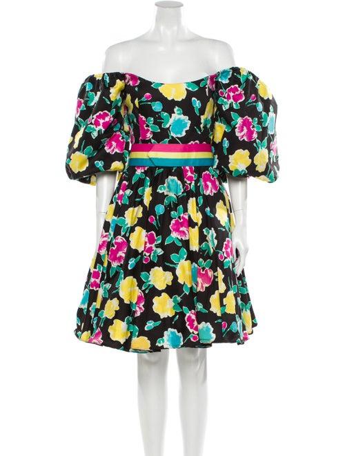 Victor Costa Floral Print Mini Dress Black