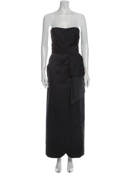 Victor Costa Strapless Long Dress Black