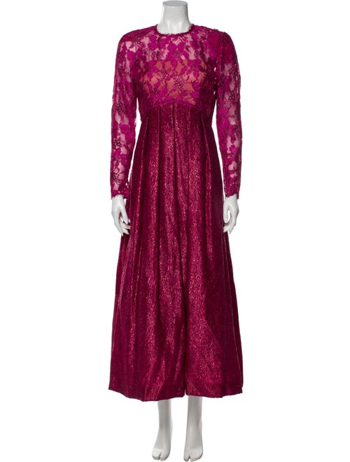 Victor Costa Lace Pattern Long Dress Pink