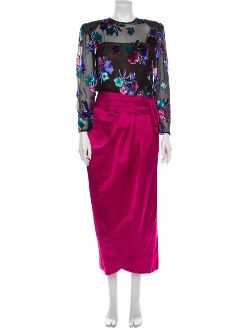 Victor Costa Printed Long Dress Pink
