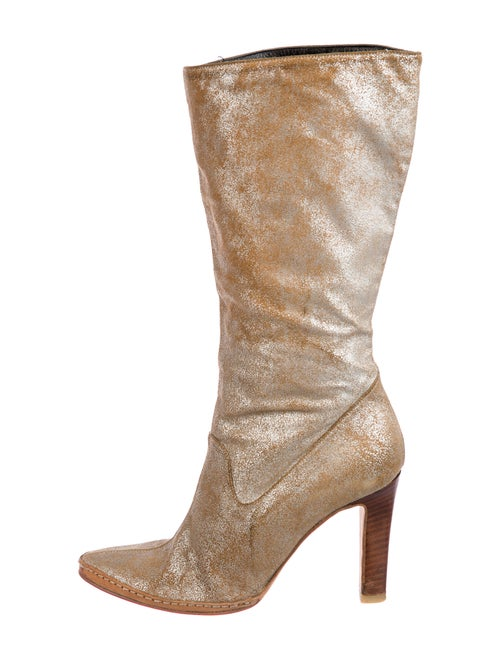 Versus Leather Boots Gold