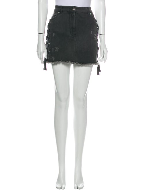 Versus Distressed Accents Mini Skirt Black