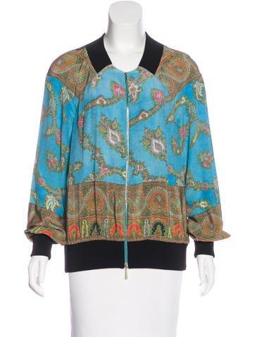 Marchesa Voyage Silk Bomber Jacket None