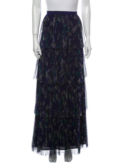 Marchesa Voyage Printed Long Skirt Blue