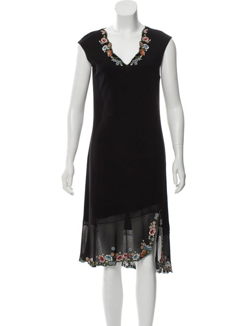 Vivienne Tam Embroidered Midi Dress Black