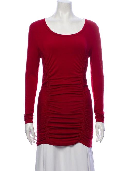 Vivienne Tam Scoop Neck Long Sleeve Top Red