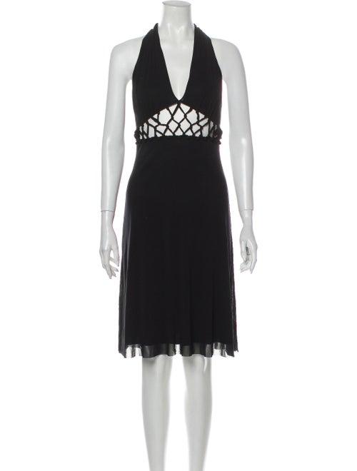 Vivienne Tam Halterneck Knee-Length Dress Black