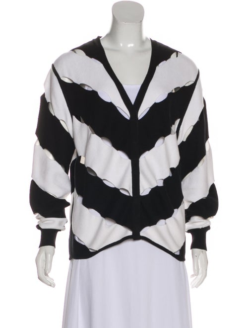 Victor Glemaud Striped V-Neck Sweater White