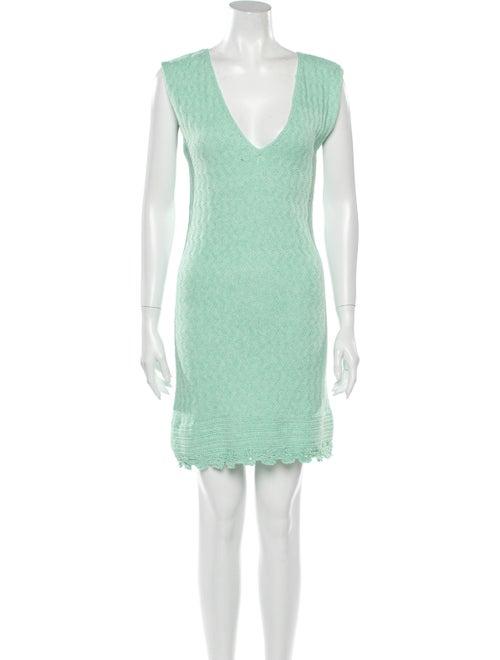Victor Glemaud V-Neck Mini Dress Green