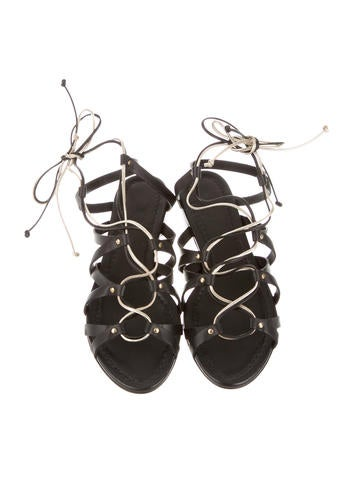 Leather Lace-Up Sandals w/ Tags