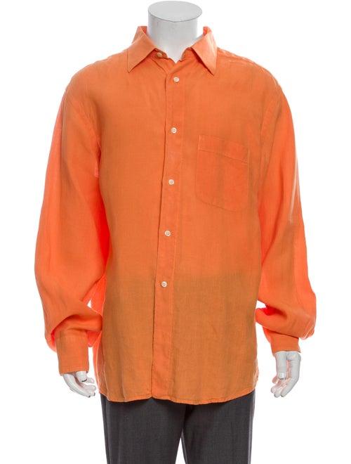 Vilebrequin Linen Long Sleeve Shirt Orange
