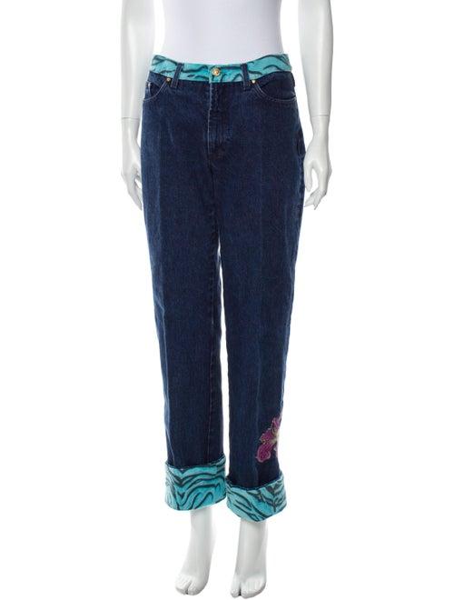 Versace Jeans Mid-Rise Straight Leg Jeans Blue